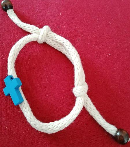 Bracelet corde laine bleu