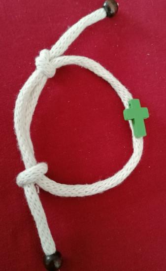 Bracelet corde laine vert