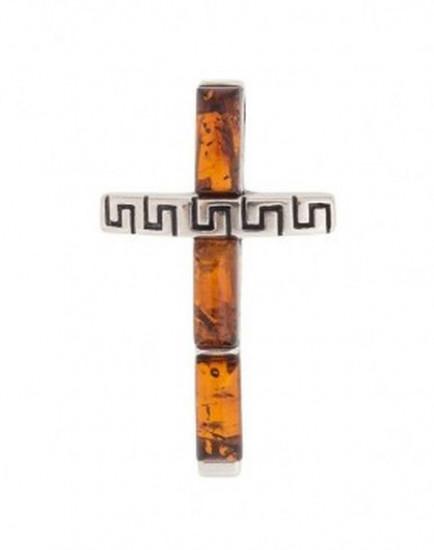 Pendentif croix ambre