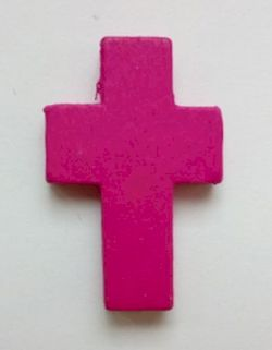 Petite croix fuschia. Lot de 6.