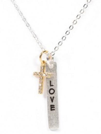 Croix dorée et plaque Love