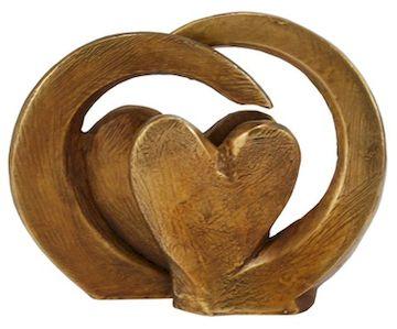 Sculture  double cœurs en bronze. 7 x 7,5 cm.