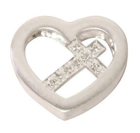 Médaillon argent coeur et croix