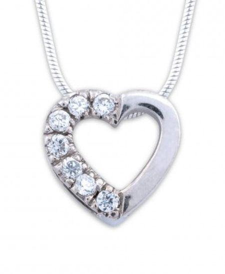 Collier avec pendentif «Cœur» argent et zirconium