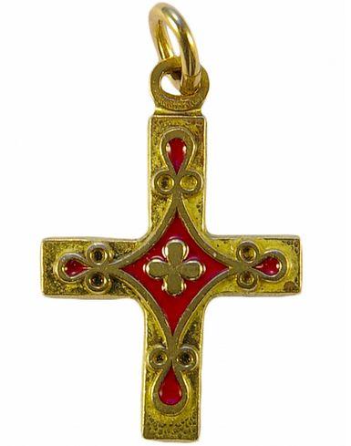 Croix pendentif laiton émaillé  Rouge
