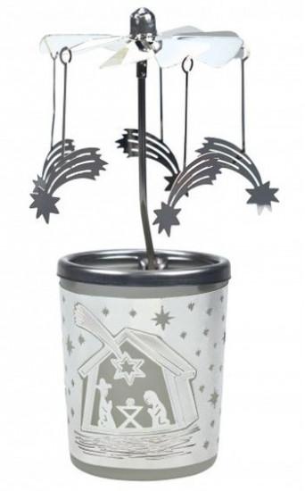 Photophore crèche : carrousel et étoiles filantes