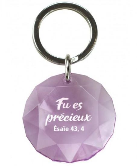Porte-clés diamant violet