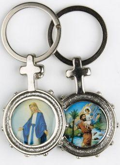 Porte-clé Vierge Miraculeuse/ Saint Christophe