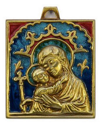 Plaque Vierge à l'Enfant bronze émaillé 9 x 9,5 cm .