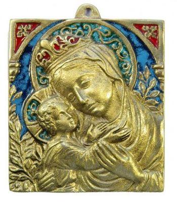 Plaque Vierge à l'Enfant. Bronze émaillé.