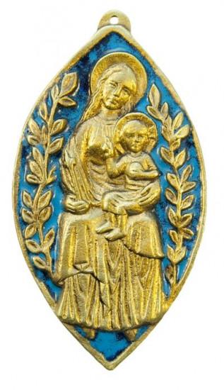 Plaque Vierge à l'Enfant, bronze émaillé, 11 cm.