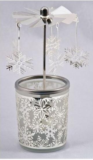Photophore : carrousel flocons de neige
