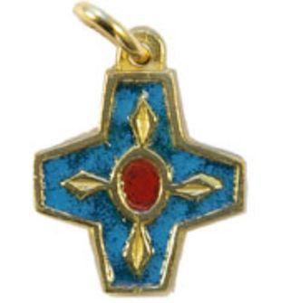Croix pendentif bronze émaillé. bleue.