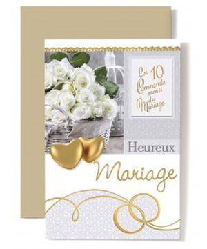 Carte Double Mariage Coeurs doré, 10 commandements