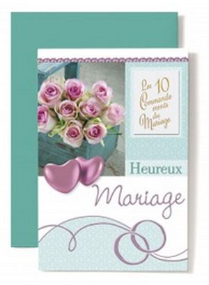 Carte Double Mariage Coeurs rose, les 10 commandements