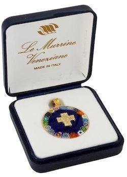 Médaille alpha-Oméga Murano 1.8 cm