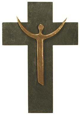 Croix moderne Christ en Gloire bronze