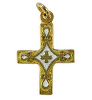 Croix pendentif laiton émaillé blanche