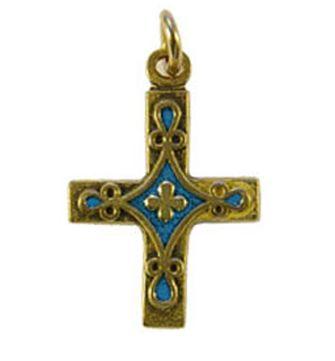 Croix pendentif laiton émaillé bleue.