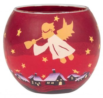 Bougeoir rouge avec ange
