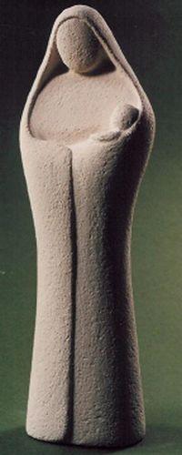 Statue Vierge à l'Enfant. Hauteur: 18,5 cm.