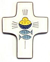 Croix céramique pains, poissons
