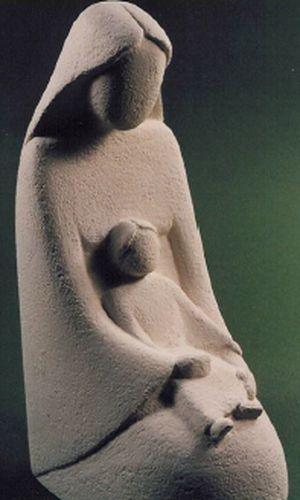 Statue Vierge à l'Enfant. Hauteur: 15 cm.