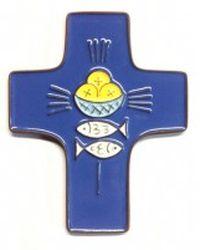 Croix céramique pains, poissons bleu foncé