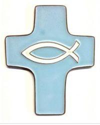 Croix céramique bleue 11,9 x 9,5 cm