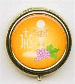 Custode dorée JHS. Fond orange