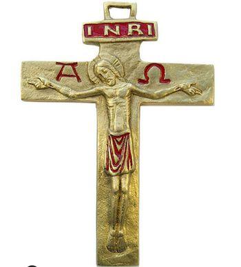 Crucifix bronze émaillé, 13 cm.