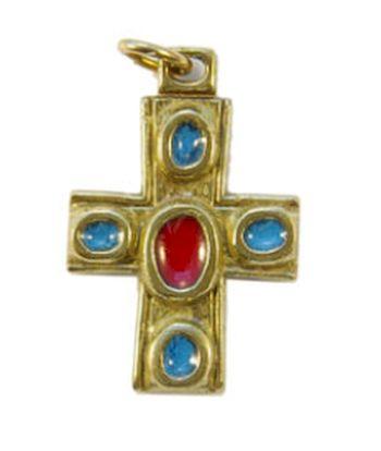 Pendentif Croix grecque bronze émaillé 3 cm.