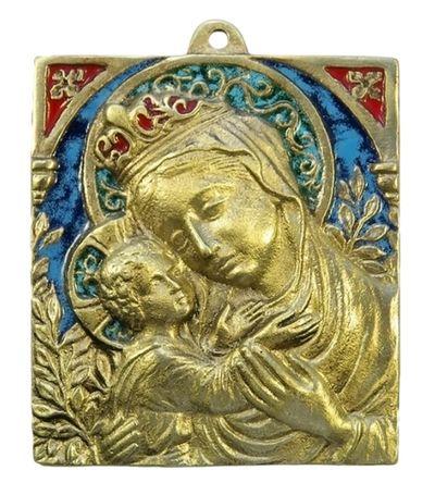 ND de France. Plaque Vierge à l'Enfant 9 x 10 cm