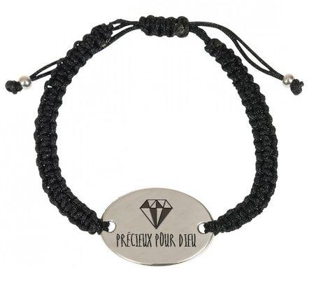 Bracelet tressé noir, avec médaillon métal «Précieux pour Dieu»