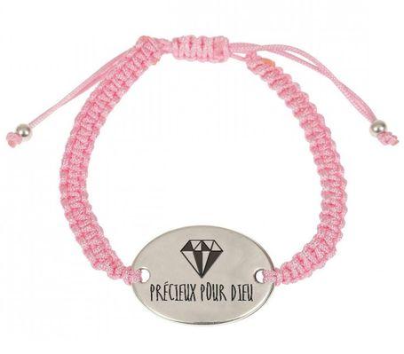 Bracelet tressé rose, médaillon métal «Précieux pour Dieu».