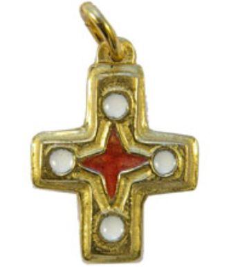 Croix pendentif bronze émaillé. 2 cm, blanche