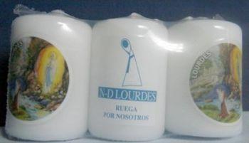 Lot de 3 mini bougies Notre Dame de Lourdes