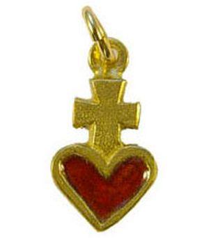 Croix pendentif laiton émaillé 3 cm .Rouge.