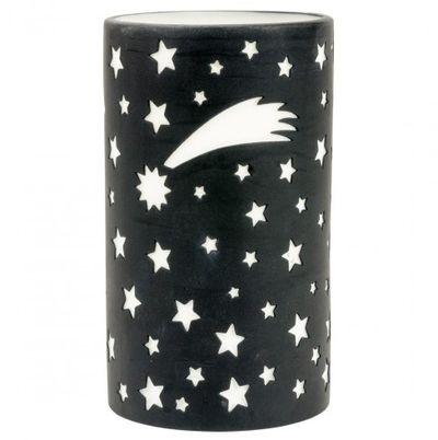 Photophore lanterne ciel étoilé noire en porcelaine