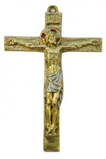 Crucifix bronze émaillé, 15 cm.
