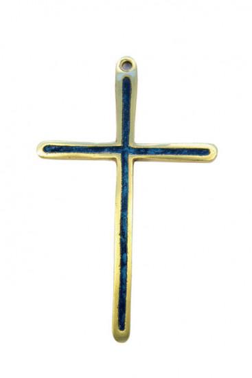 Croix fine en bronze émaillé, 12 cm couleur bleue