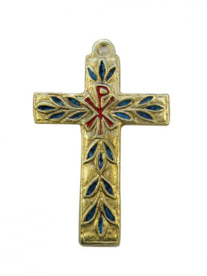 Croix murale émaillée avec Chrisme 11cm