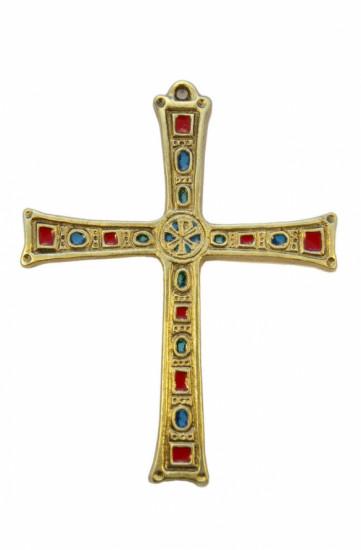 Croix bronze émaillé avec chrisme 16 cm.