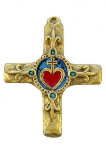 Croix bronze émaillé avec Sacré Cœur, 11,5 cm.