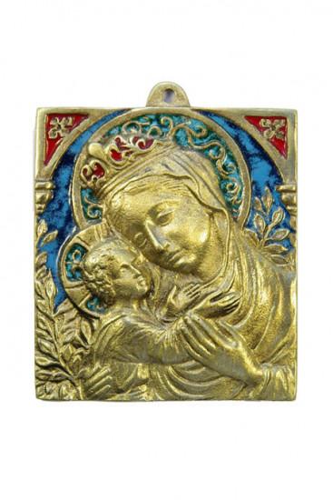 Plaque Vierge à l'Enfant 9 x 10 cm