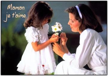 Carte avec message Fillette et sa maman (Maman je t'aime)