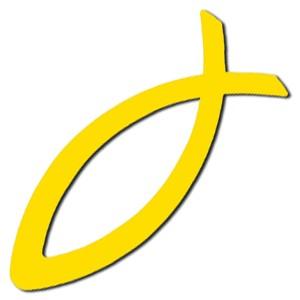 Autocollant : Ichtus jaune