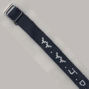 Bracelet tissé W.W.J.D. bleu foncé