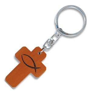 Porte-clés croix en bois Ichtus.