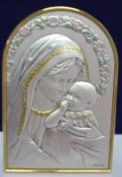 Support à poser. Vierge à l'Enfant. 6,2 x 4,5 cm.